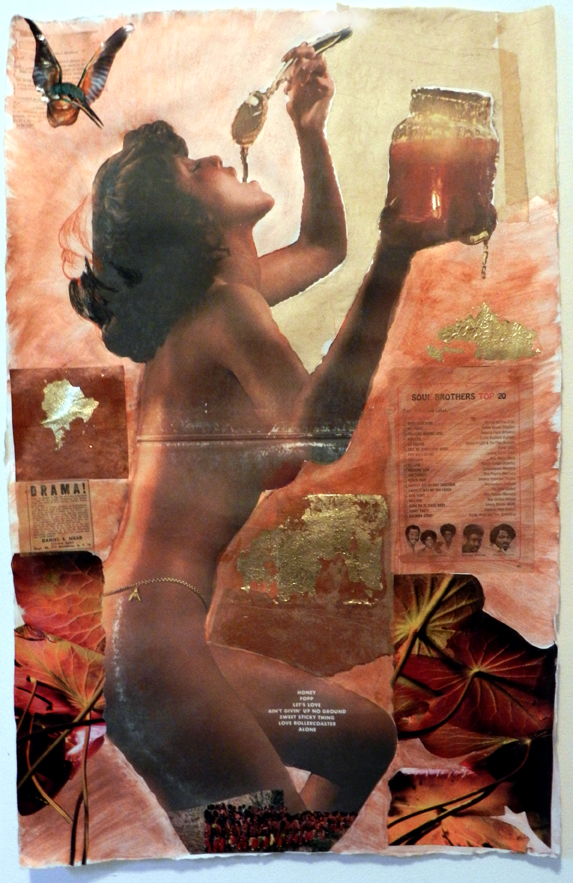 Oshun as Ohio Player(s), Inkjet and collage on handmade paper, 2013