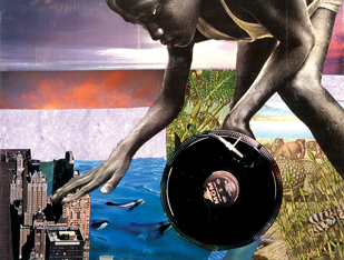 Transatlantic Turntable-ism, Collage on canvas, 2006