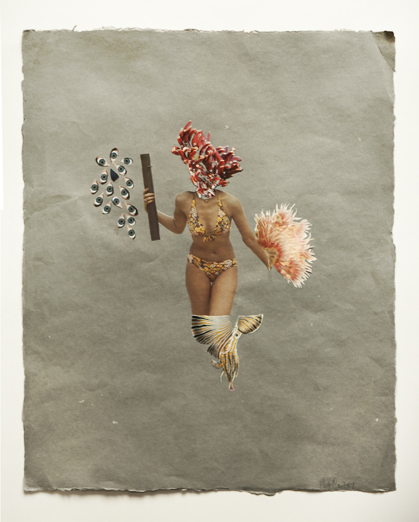 We Wear the Mask II, Collage on handmade paper, 2014
