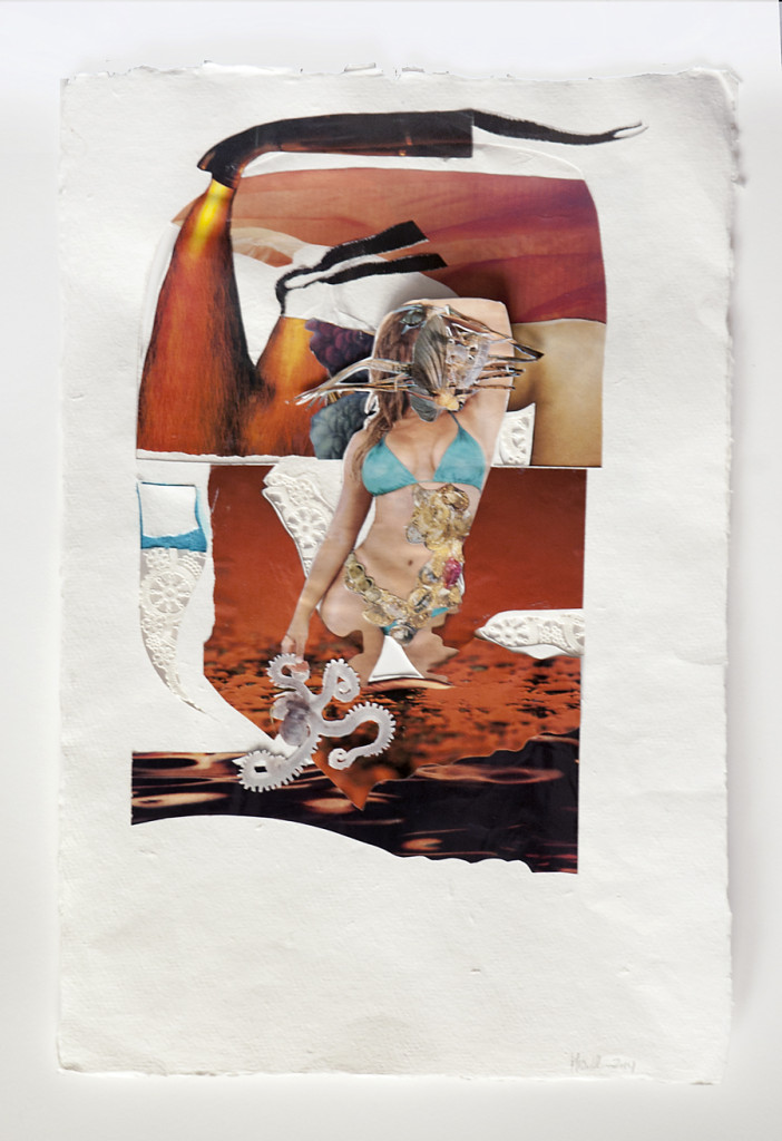 We Wear the Mask V, Collage on handmade paper, 2014