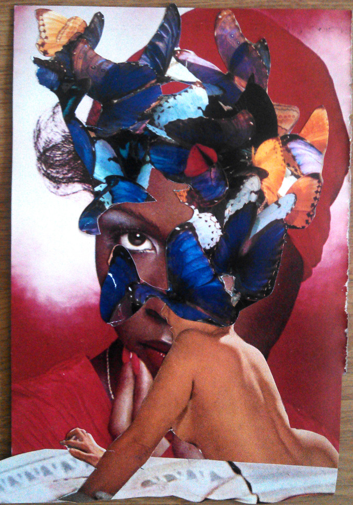 Butterflies, Collage on vintage JET magazine page, 2013